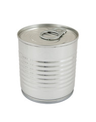 Aluminum tin can isolated on white background