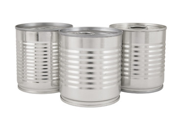 Aluminum tin cans isolated on white background