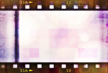 retro color digital film strip background and texture