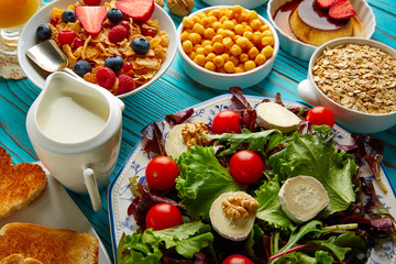 healthy breakfast salad and cereals