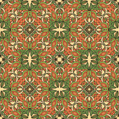 Tuinposter Marokkaanse Tegels Seamless mandala pattern for printing on paper or fabric. Islam and Arabic motifs.