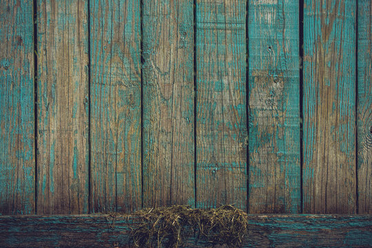 Grunge background with wooden planks in blue colors
