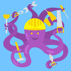 Cartoon octopus handyman vector illustration