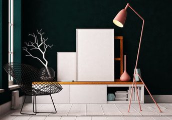 mockup interior with a poster and a floor lamp. trend color. 3d