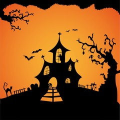Happy Halloween Card Template, Mix of Various Spooky Creatures, Moon and horror house, Vector Illustration