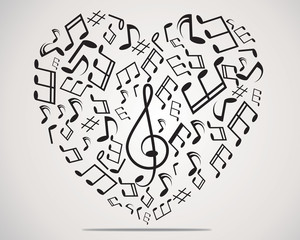 Heart collected from musical notes
