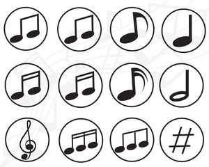 Music note sign icon. Musical symbol buttons. Vector