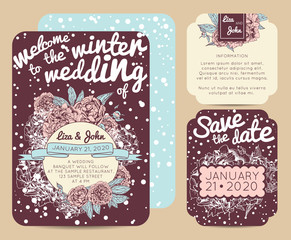 Winter invitation set with save the date card. Beautiful botanic invitation decorated with peonies
