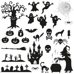 Halloween spooky black silhouettes.