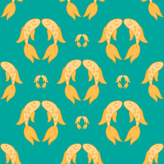 Gold fish exotic aquarium pet, sea background, summer water seamless pattern