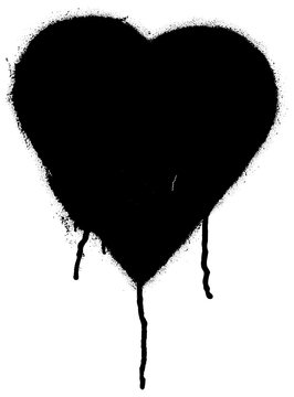 Black paint graffiti heart shape