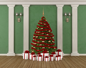 Classic interior with Christmas tree