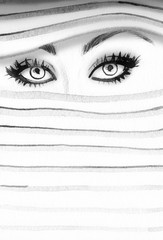 Poster Portrait Aquarelle Eyes. Makeup. Abstract fashion watercolor illustration