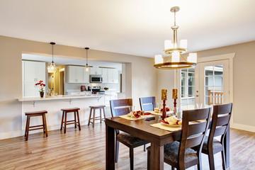 Open floor plan spacious room interior. Dining area