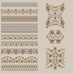Vector set of decorative elements for design and fashion in ethnic tribal style. Borders and patterns collection