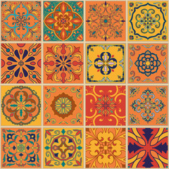 Garden Poster Moroccan Tiles Vector seamless texture. Beautiful patchwork pattern for design and fashion with decorative elements