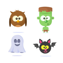 Halloween monsters icons. Vector illustration