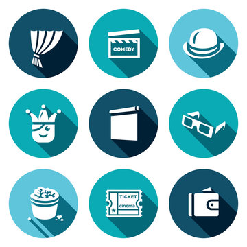 Vector Set of Comedy Cinema Icons. Curtain, Movie Clapper, Bowler, Jester, Screen, 3D Glasses, Popcorn, Ticket, Wallet.