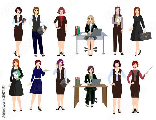 Women engage in office work. Different types of work. Girl working on a  laptop