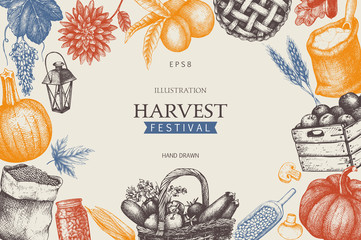 Vintage design with hand drawn harvest sketch. Vector frame with autumn illustration. Traditional Harvest festival decoration. Retro template.