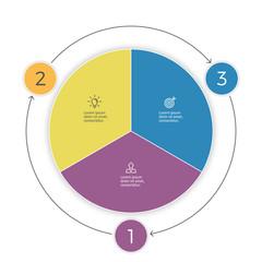 Pie chart. Three steps infographics. Vector design element.