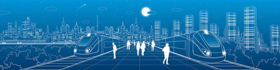 Wall Mural - Infrastructure and transport panorama, people waiting for train on station, two trains move over bridges, night city in the background, business buildings, neon skyline, vector design art