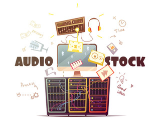 Microstock Audio Concept Retro Cartoon Illustration