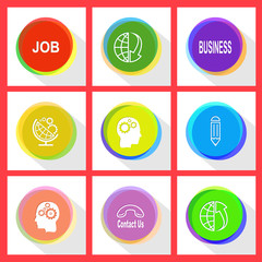 job, globe and array down, business, globe and gears, human brai