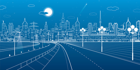 City scene, highway, urban skyline, street life, neon town, white lines on blue background, vector design art