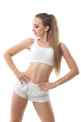 Concepts: healthy lifestyle, sport. Happy beautiful woman fitness trainer working out isolated on white background