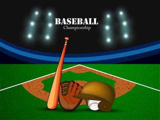 Illustration of elements for baseball sport background
