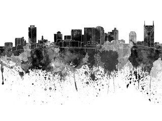 Wall Mural - Nashville skyline in black watercolor on white background