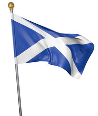 National flag for country of Scotland isolated on white background, 3D rendering