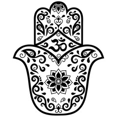 """Vector hamsa hand drawn symbol. OM decorative symbol. Decorative pattern in oriental style for the interior decoration and drawings with henna. The ancient symbol of the """" Hand of Fatima """"."""