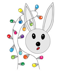 Cute rabbit with festive garland isolated