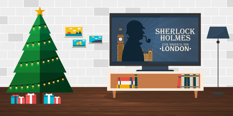 Merry Christmas and Happy New Year. Sherlock Holmes on TV