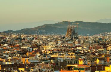 Barcelona in sunset time, Spain
