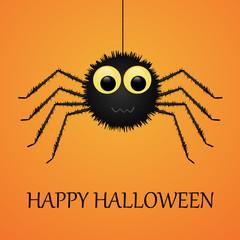 Happy Halloween orange background with spider.