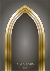 Arab arch of gold or bronze on a dark background. Gothic form. Vector graphics