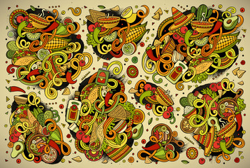 Doodle cartoon set of Mexican Food objects