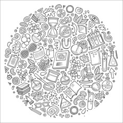 Set of Science cartoon doodle objects