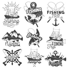 Vector set of monochrome fishing trip emblems. Isolated badges, labels, logos and banners in vintage style with ship, anchor, spinning rod, fish