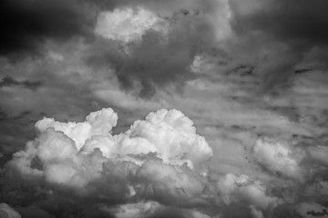cloudy sky. Black and white