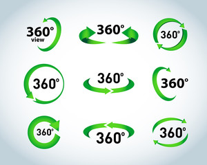 360 Degrees View Vector Icons. Isolated vector illustrations.