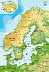 Scandinavia-physical map