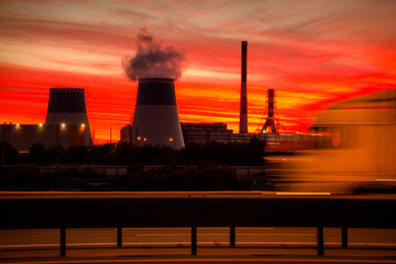 Industrial landscape at sunset