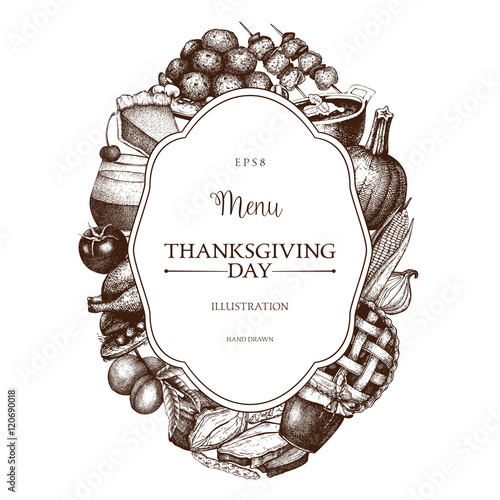 671278589ea Vector menu design for Thanksgiving Day celebration. Vintage frame with hand  drawn traditional food sketch. Autumn harvest festival decoration elements.