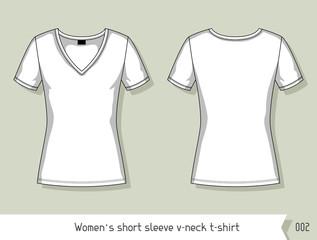 Women Short Sleeve V Neck T Shirt Template For Design Easily Editable