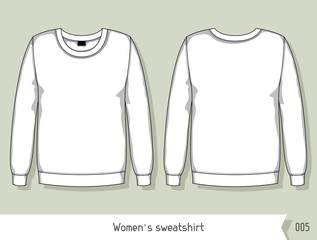 Women sweatshirt. Template for design, easily editable by layers