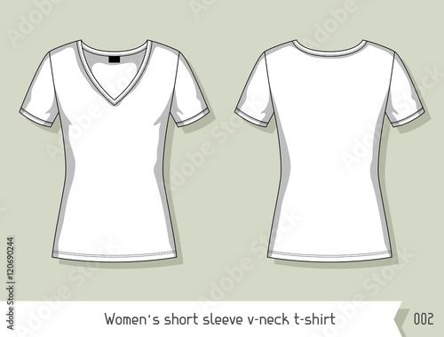 96b5098c66f6 Women short sleeve v-neck t-shirt. Template for design, easily editable by  layers